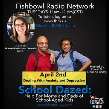 Promotional flyer for podcast, School Dazed, about anxiety and depression in students.