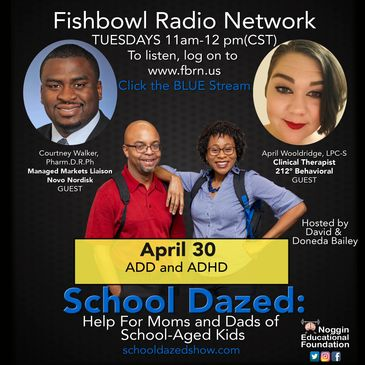 Promotional flyer for podcast, School Dazed, ADHD and students.