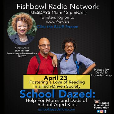 Promotional flyer for podcast, School Dazed, about fostering a love of reading.