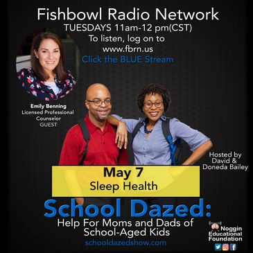 Promotional flyer for podcast, School Dazed, about sleep health.