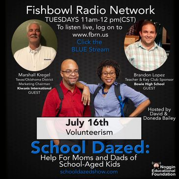 Promotional flyer for podcast, School Dazed, about volunteerism with Kiwanis International.