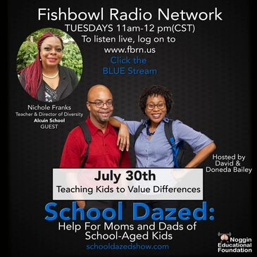 Promotional material for podcast School Dazed with NIchole Franks Director of Diversity at Alquin.
