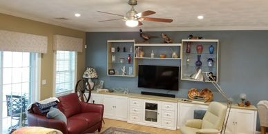 Living room lighting, dimmers, ceiling fan, recessed lights, recessed lighting, can lights, lights