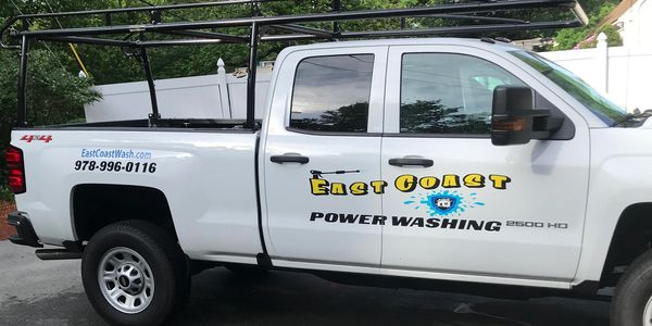 Power washing service truck located in Westford