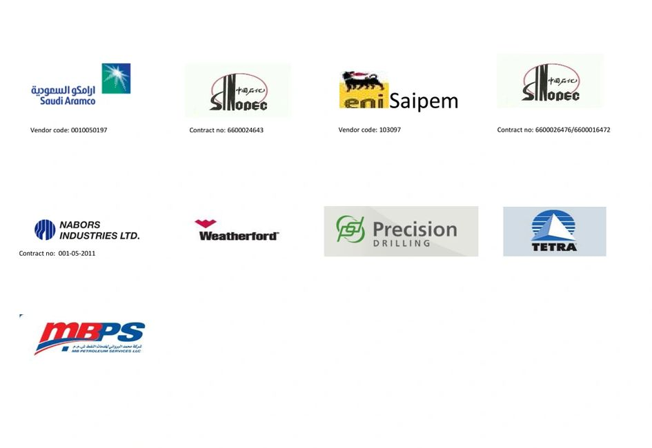 Our valuable clients  1. NABORS ARABIA  2.SINOPEC INTERNATIONAL PETROLIEUM SERVICE COMPANY,  3. DRIL