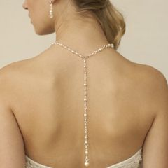 Back necklace of pearls and crystals