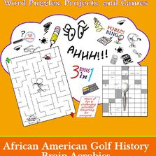 African American golf history activity book of Brain-Teasers, Word Puzzles, Bingo game, and more.