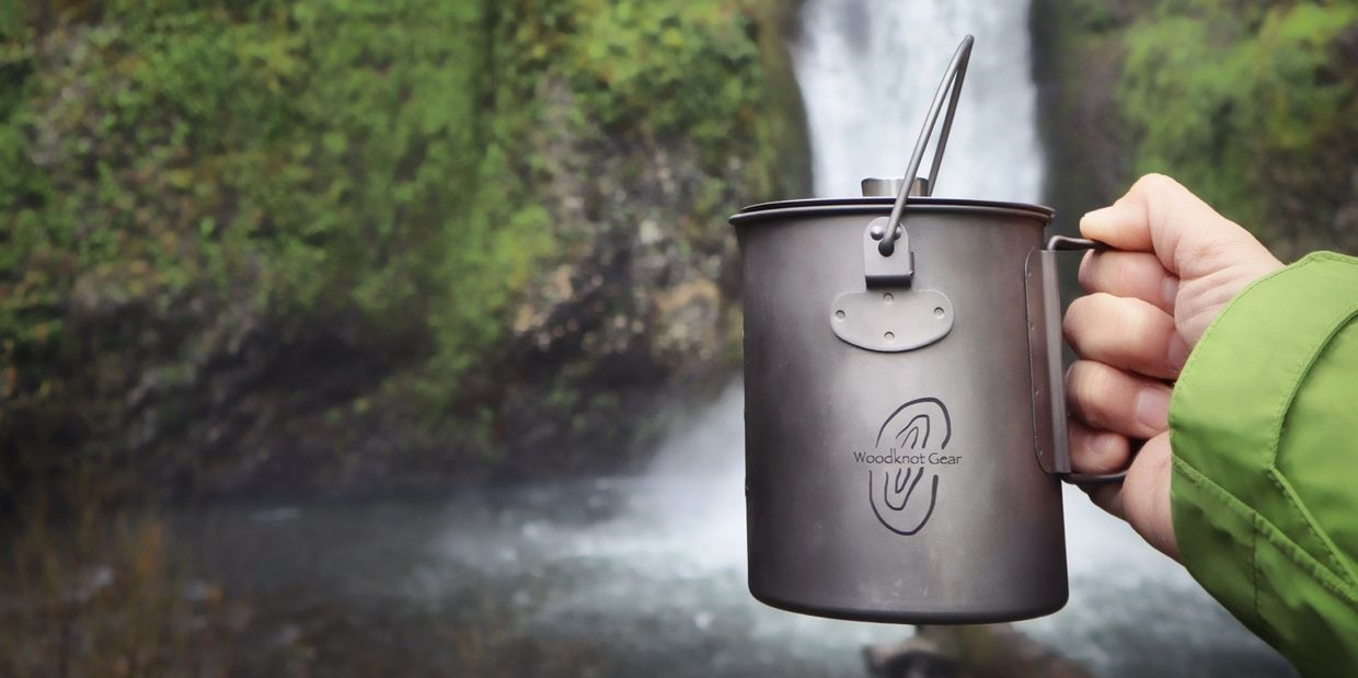 outdoor waterfall camping hiking coffee french press titanium cup backpacking