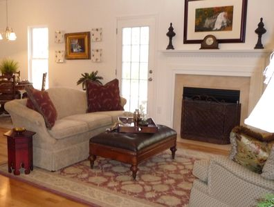 Gas log fireplace in great room