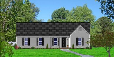 Affordable Southern Colonial home design. The Adamston VIII