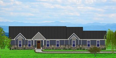 Affordable, One level Craftsman Home Design with real rock,  The Ardentowne-Alpine with Side Garage