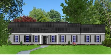 Southern Colonial home design. The Batesburg V with Side Garage