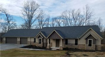 Beautiful One level Craftsman Home designed for a view Batesville-Alpine V with Side Triple Garage