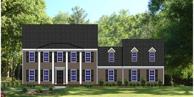 Southern Colonial home design. The Belhaven XVIII with  Side Garage