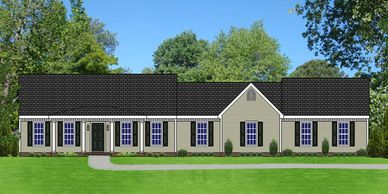 Southern Colonial home design. The Bowman XIII with Side Garage