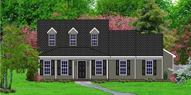 Southern Colonial home design. The Covington XII-RB with Rear Garage