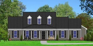 Southern Colonial home design with 5 bedrooms. Covington XVII-RB with Rear Garage