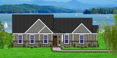 Affordable, One Level 4 bedroom Craftsman Home Design with real rock.  The Edgefield-Towne IX-P with Bath Option