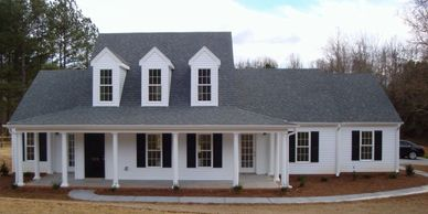 Country farmhouse home design with wrap-around front porch Fayetteville XII-RB with Rear Garage