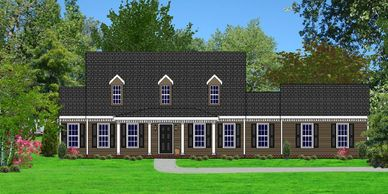 Southern Colonial home design. The Freeport III with Double Garage