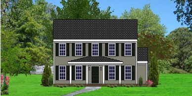 Southern Colonial home design. The Georgetown V-HB  with Rear Garage