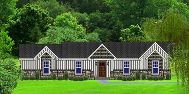 Affordable One Level Craftsman Home Design Leestowne-Alpine VII with Rear Garage