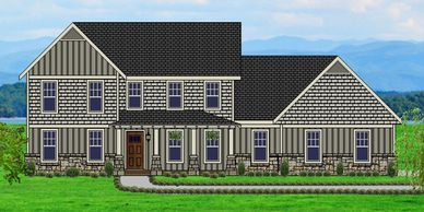 Beautiful Craftsman Home designed with 2 story wall of glass for a view Lincolntowne XVII with Side Garage