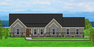 Beautiful one level Craftsman Home designed for a view.  The Mannington-Towne VI-P with Side Garage