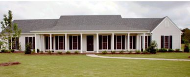 Country one level home design with wrap-around front porch Newberry II with Double Garage