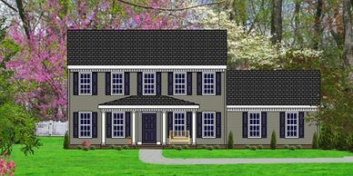 Southern Colonial home design. The Port Wentworth V with Double Garage
