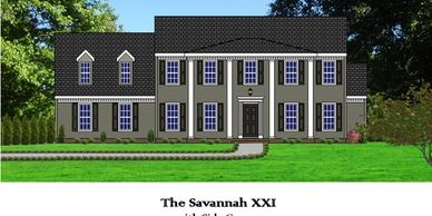 Southern Colonial home design. The Savannah XXI with Side Garage