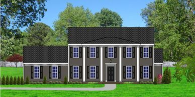 Southern Colonial home design. The Savannah XVII with Side Garage