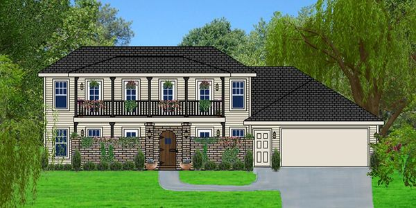 Tuscan style home with Front Courtyard The Sorano XXVII with Double Garage Elevation F-HR-1