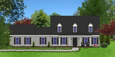 Southern Colonial home design. The St. John VIII with Side Garage