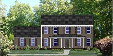 Southern Colonial home design. The St. George XIV with Side Garage