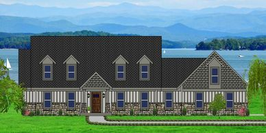 Affordable, low maintenance Craftsman Home with real rock detail.  Summerton-Alpine XXX with Side Garage