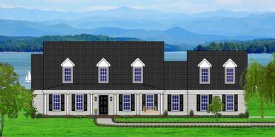 Southern Colonial home design. The Summerville-Lake XXV with Side Garage