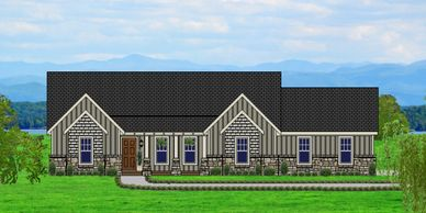 Affordable, One level 4 bedroom Craftsman Home with real rock.  The Mannington-Towne VIII-W-H-P with Bath Option & Side Garage