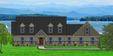 Affordable, Craftsman Home Design with real rock. The Summerton-Alpine XXV with Side Garage