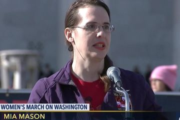 Speaking at womens march about administration on discrimination