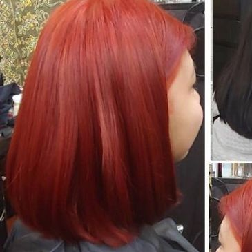 vibrant red, Highlights, partial highlights, babylights and balayage, brunette or coolest blonde