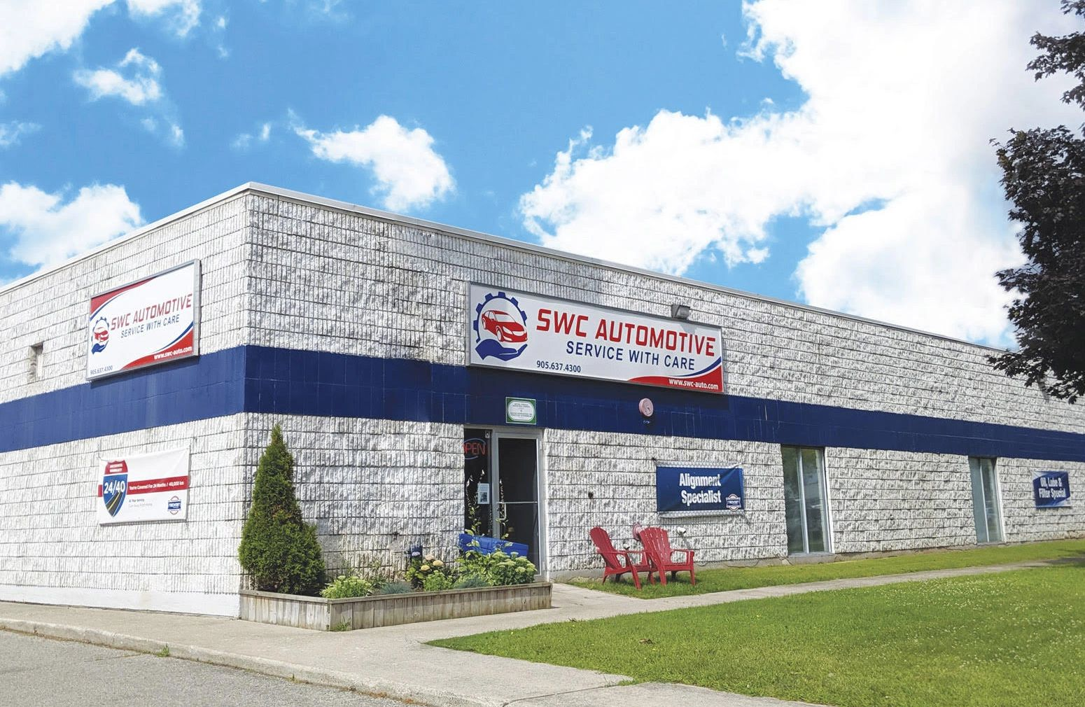 Exterior of SWC Automotive - Service With Care. Burlington's Best Automotive Repair and Service
