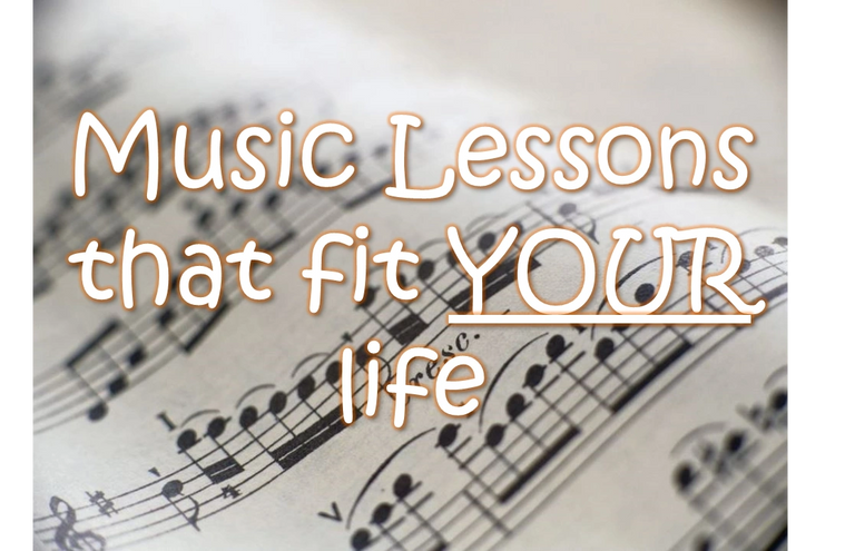 "Music notes with text saying ""Music lessons that fit YOUR life"""