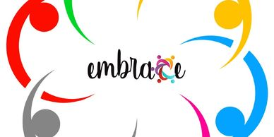 "the word, ""embrace"" in the center of six interlocking, colorful people icons"