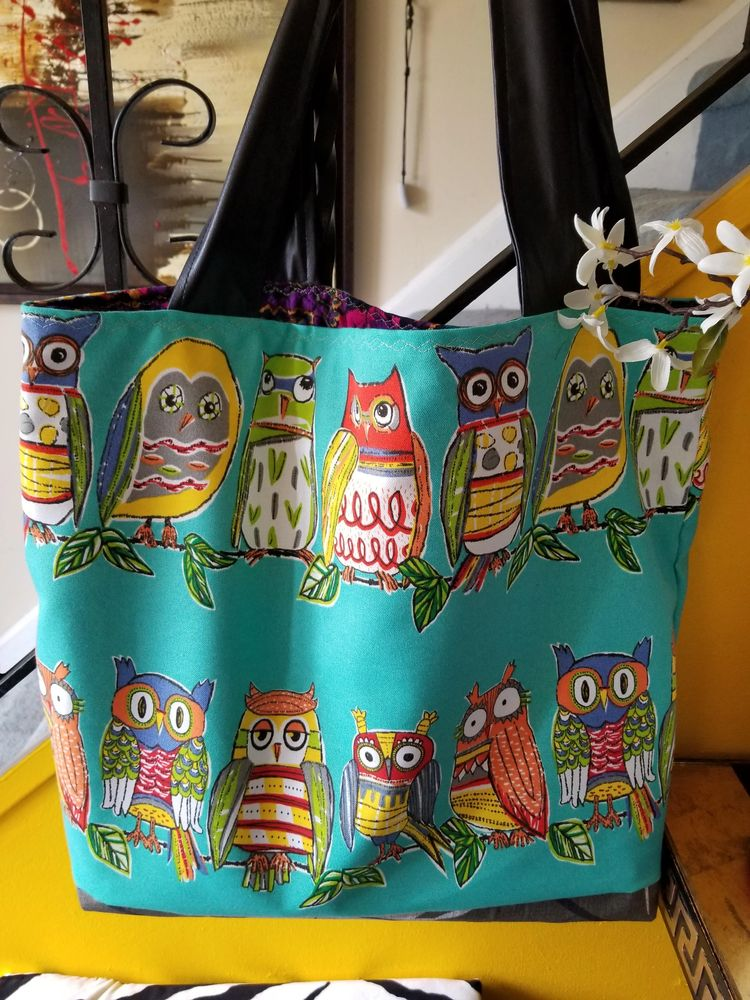 The Owl Tote Bag with Leather Straps