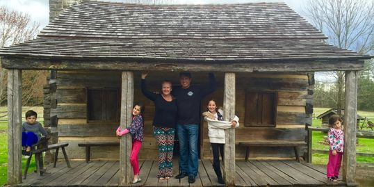 Our family in 2016 at Davy Crockett's childhood home in Tennessee