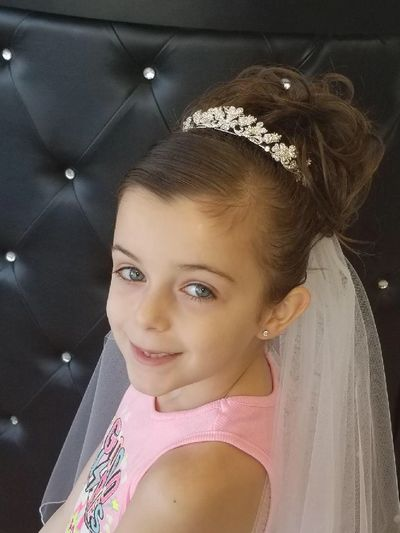 First Holy Communion Hair piece updo is our best seller.