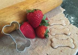 Strawberry yogurt dog treat biscuit dough, dog treat recipes, Four Seasons For Paws
