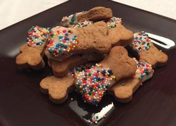 Peanut Butter Biscuits with pet friendly icing and sprinkles, dog treat recipes