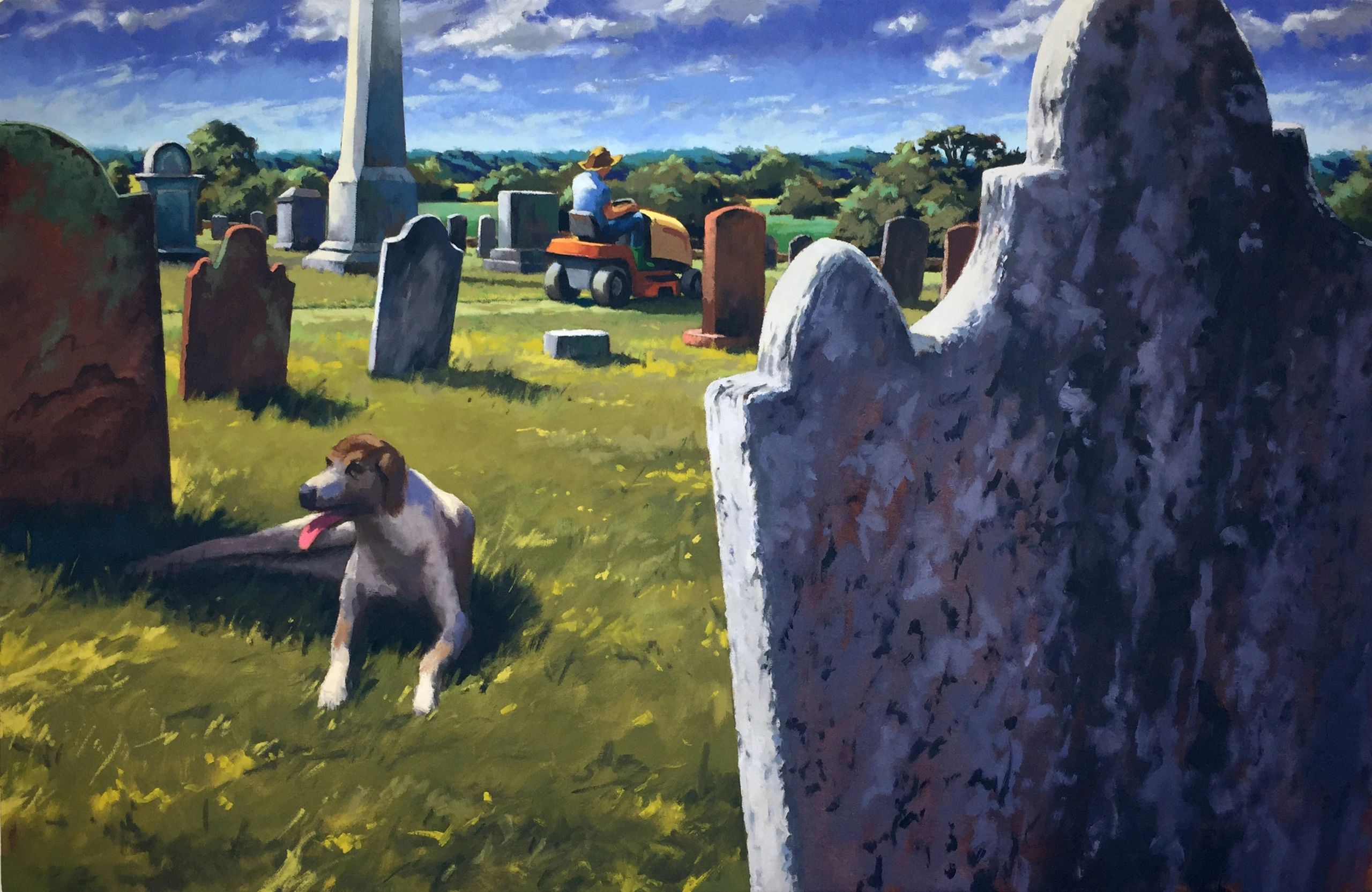 a painting of a cemetery in strong sunlight with a dog panting in the shade of a headstone.